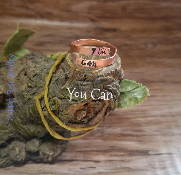 """Hammered copper adjustable ring """"You Can"""""""