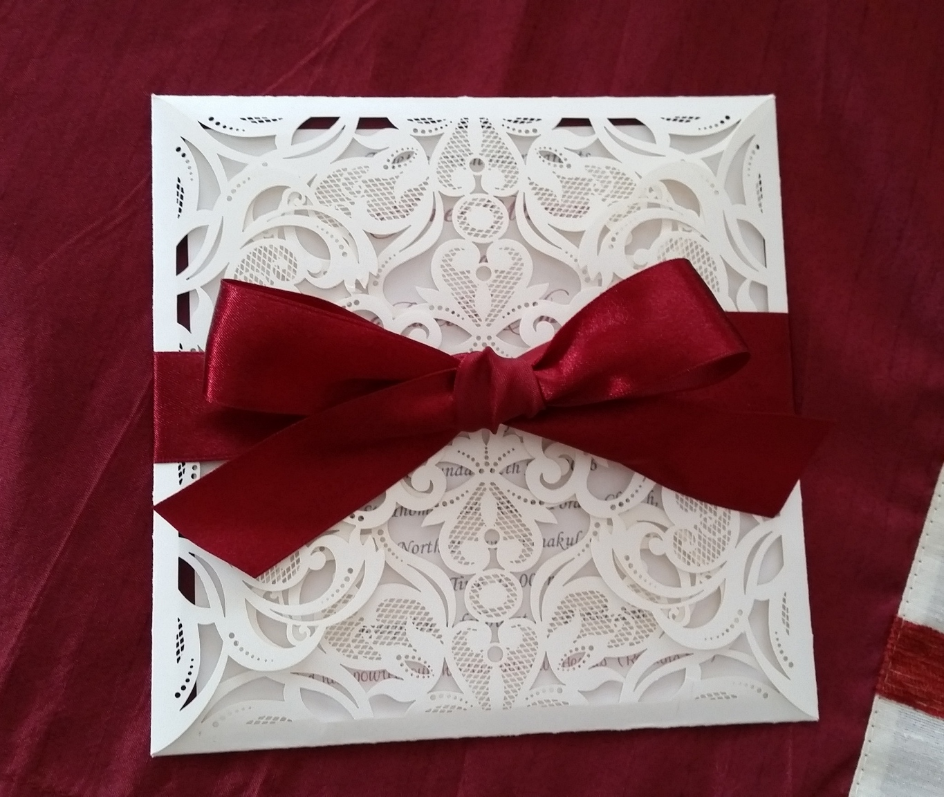 Ivory Lace Laser cut invitation card with by LKs Invitations on Zibbet