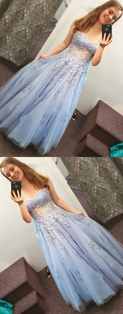 Sexy strapless party dress, blue long prom dress, tulle prom dress 17075