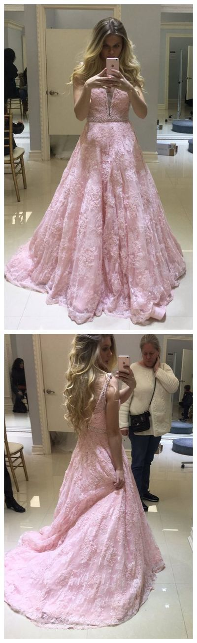 Pink formal party dress, V neck prom dress, lace long evening dress 17084