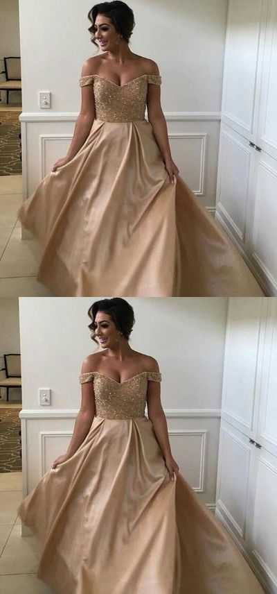 Charming Off Shoulder Prom Dress, Champagne Stain Party Dress, Long Evening