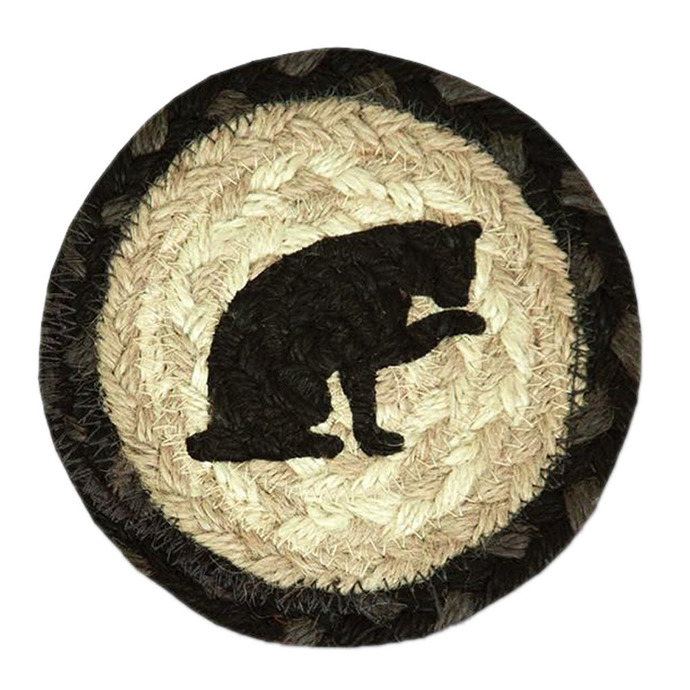 "Earth Rugs 5"" Round Decorative Cat Printed Jute Braided Coaster"
