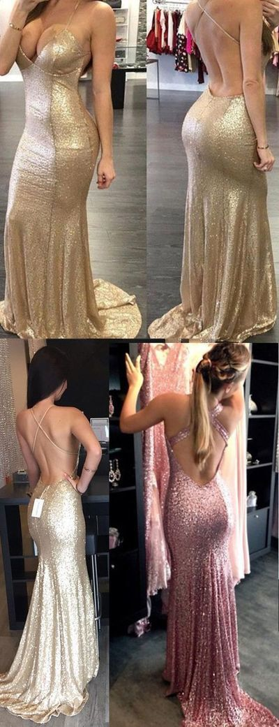 Sequins Backless Prom Dress,Mermaid Prom Dress,Custom Made Evening Dress,17091