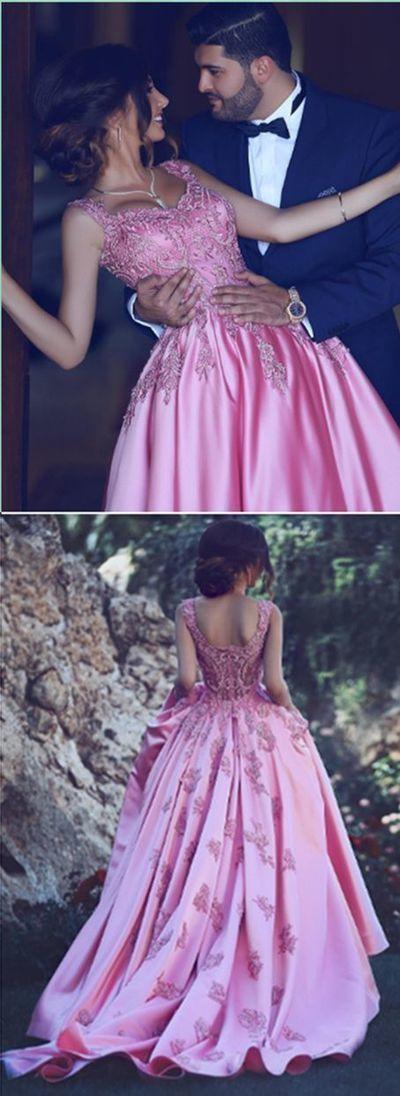 Copy of Pink Applique Prom Dress,Bodice A Line Prom Dress,Custom Made Evening