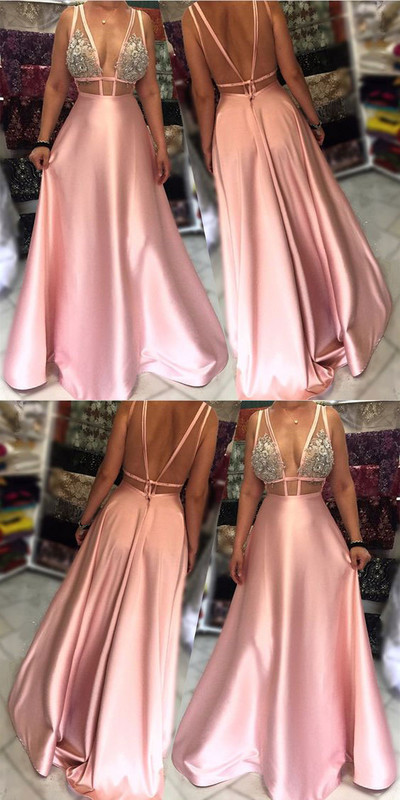 V neck Satin Evening Dress, Pink Floor Length Evening Prom Gowns 17095