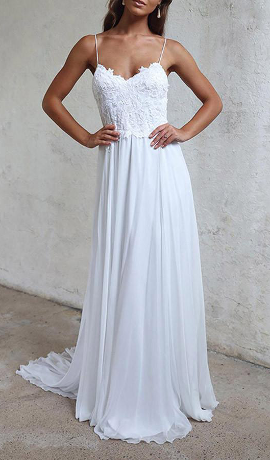 Elegant A-line Wedding Gowns,Straps White by prom dresses on Zibbet