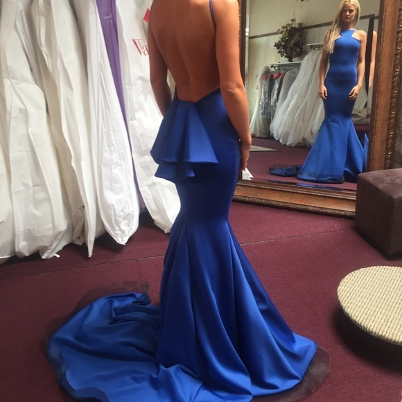 Royal Blue Mermaid satin prom Dresses Open back women Party Dresses