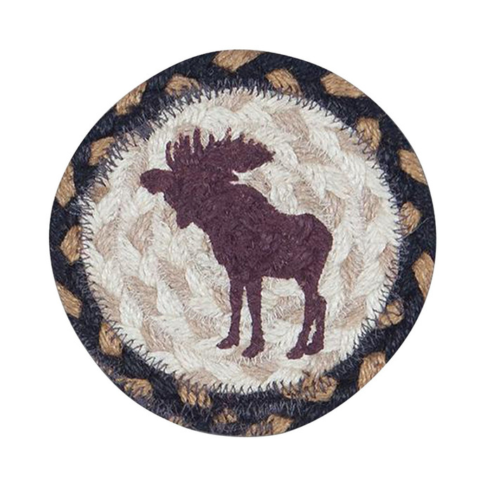 "Earth Rugs 5"" Round Decorative Bull Moose Printed Jute Braided Coaster"