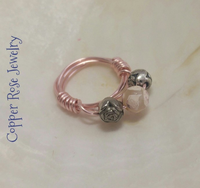 Pink and cream agate beaded rose copper ring