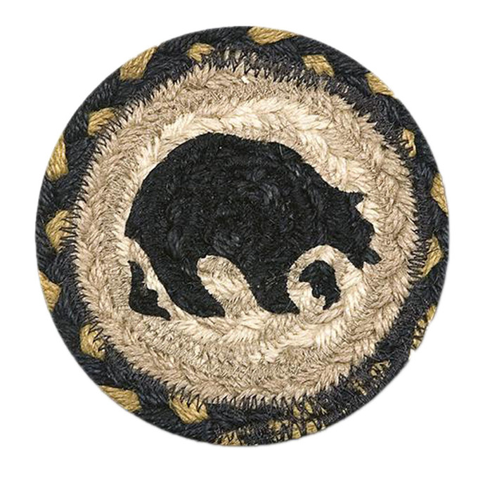 "Earth Rugs 5"" Round Decorative Bear Printed Jute Braided Coaster"