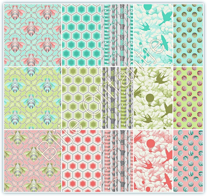 Free Spirit Tula Pink Bumble Poplin Cotton COMPLETE 15 FAT QUARTERS