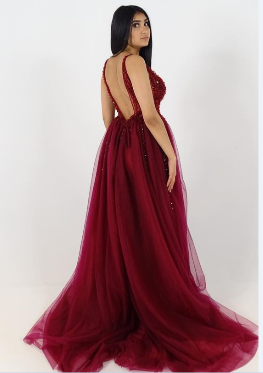 burgundy tulle long prom dress,prom dress, luxurious beaded v neck burgundy