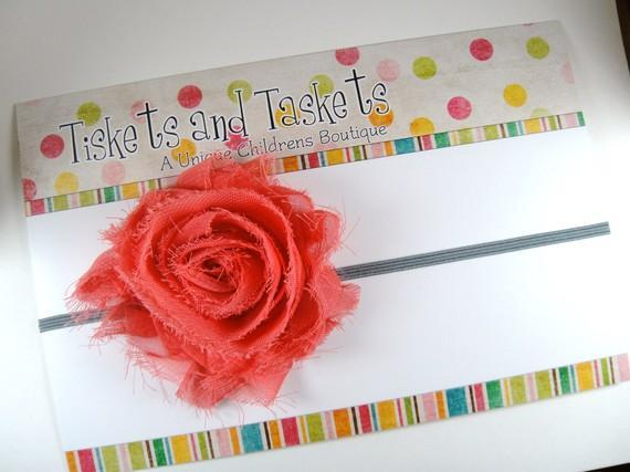 Coral Pink Chiffon Flower Rosette on Skinny Stretch Headband - Newborn Baby