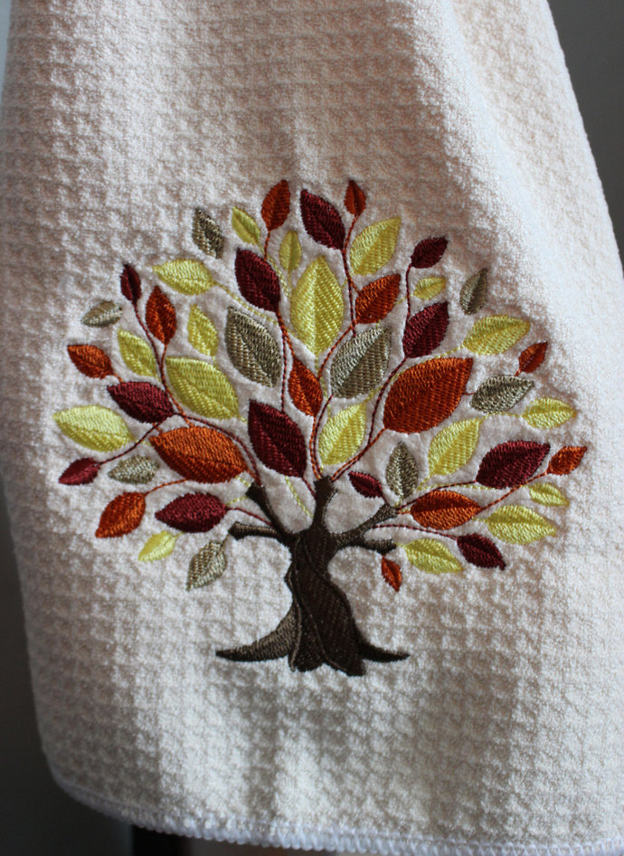 Embroidered Towel, Fall Tree, Waffle Weave Towel, Autumn Tree, Kitchen Towel,