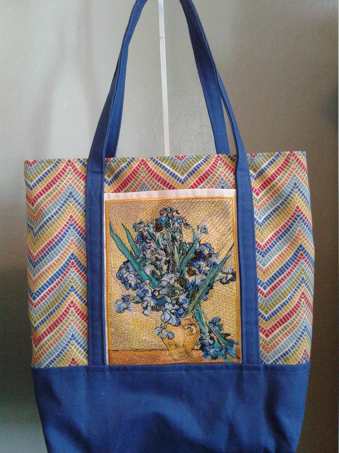 Handmade Embroidered Tote Bag,  Iris, One of a Kind Tote, Book Bag, Kindle Bag,