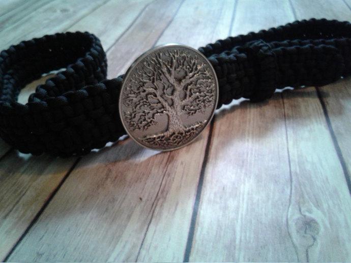 Paracord Belt, Survival Belt, 550 Paracord, Black Belt, Tree of Life, 7 Strand