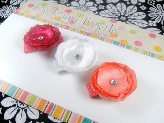 NEW Item... Set of 3 Satin White Pink Hot Pink Flowers w/ crystals Mini Baby