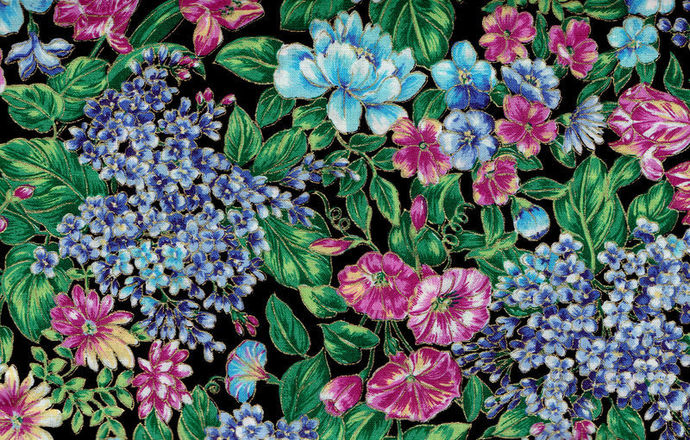 Yardage Cotton Quilt Fabric Garden Collectibles Floral Black Multi