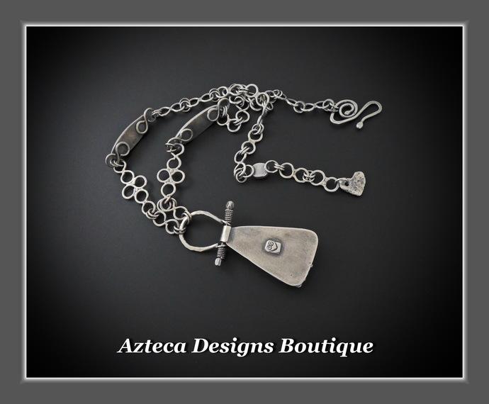 Sonoran Sunrise Rosarita Malachite Hand Fabricated Silver Artisan Necklace