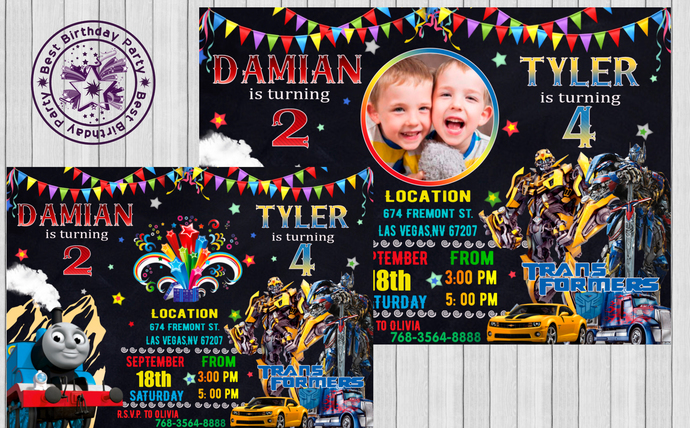 Double Birthday Invitation Siblings Boys Invitations Two Theme