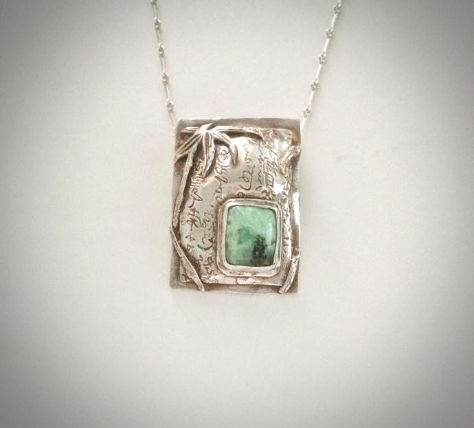 Chrysocolla necklace, Asian pendant, gem silica chrysocolla, natural stone,