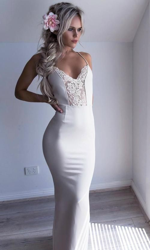 Sexy Spaghetti Straps Prom Dress, White Halter Party Dress, Mermaid Long Evening
