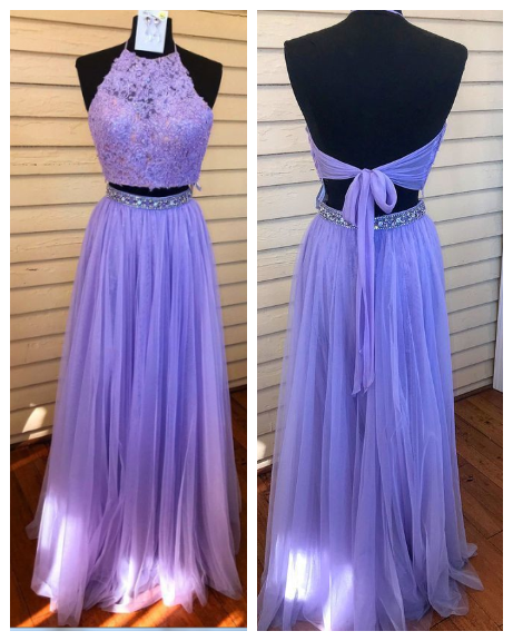 Two Pieces Prom Dress,Tulle Prom Gown,Appliques Prom Dress,Halter Prom Gown 852