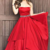 Red Prom Dress,Satin Prom Gown,A-Line Prom Dress,Strapless Prom Gown 853