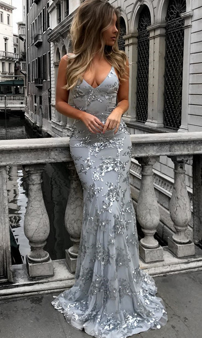 Sexy Halter Prom Dress, Backless Long Prom Dress, Grey Mermaid Evening Dress