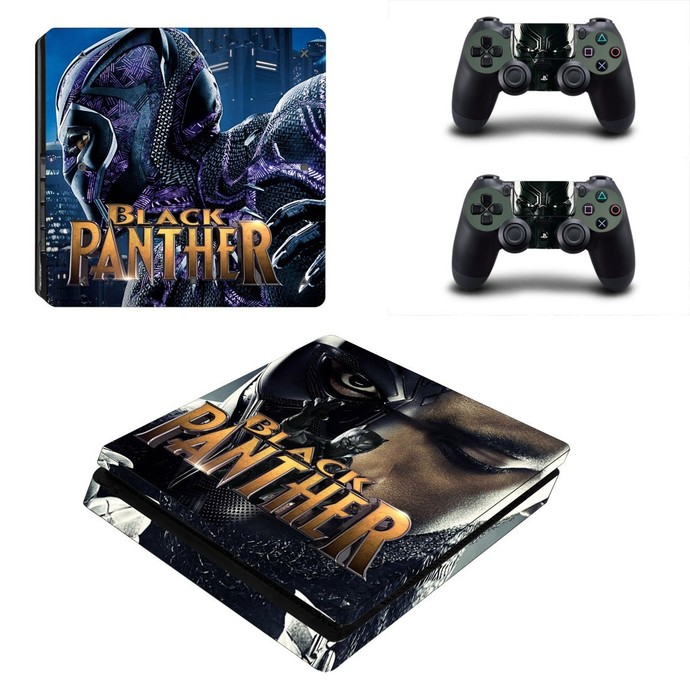 Black Panther ps4 slim skin decal for console and controllers