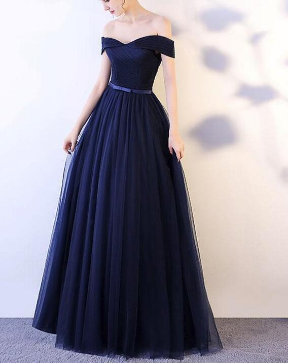 Beautiful Navy Blue Long Party Dress, Off Shoulder by DRESS on Zibbet