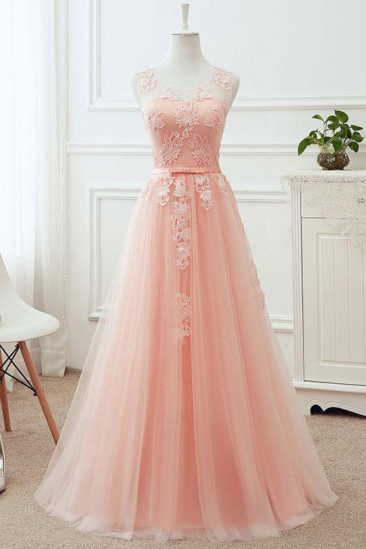 Soft Pink Tulle Long Bridesmaid Dress, Pink Long by DRESS on Zibbet