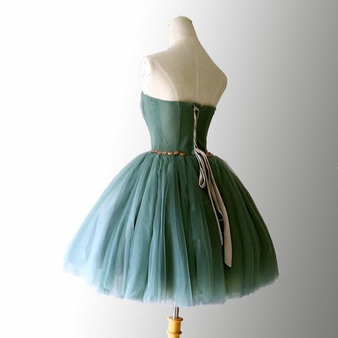 Beautiful Dark Green Tulle Sweetheart Short Homecoming Dress, Hunter Green