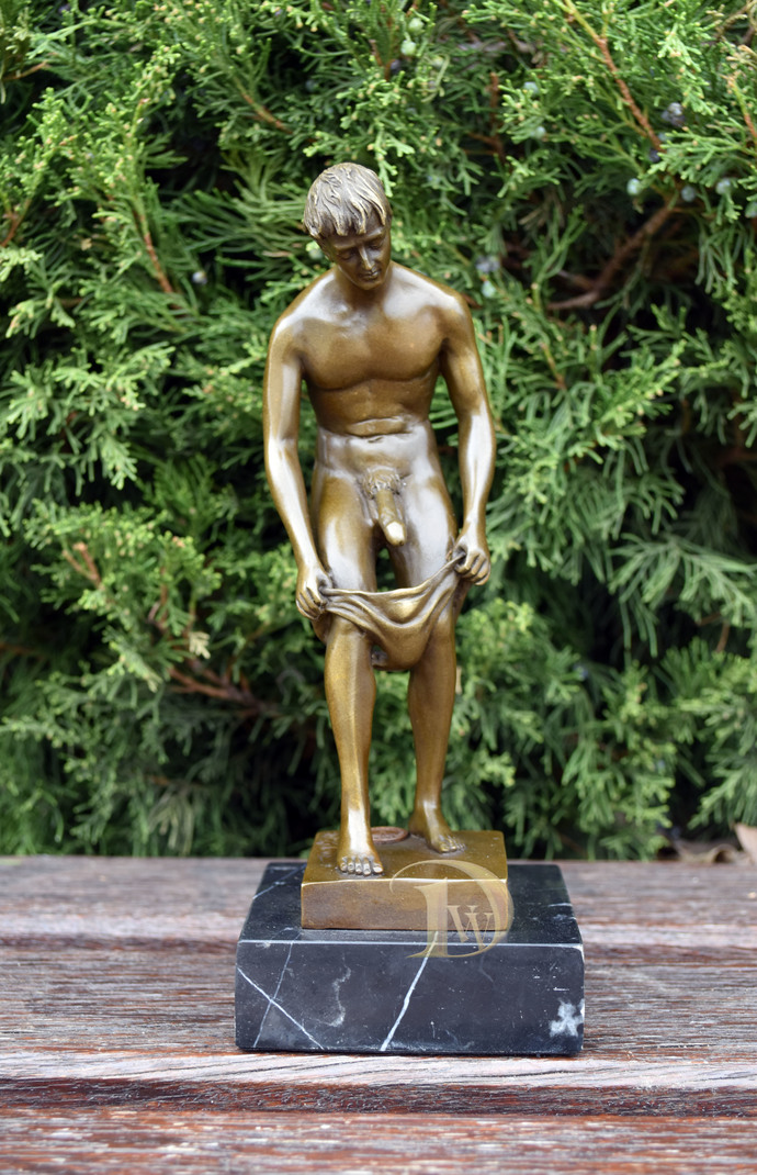 Bronze erotic Sculpture, shows the Naked Man , Signed, Vintage sculpture,