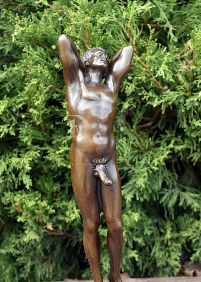 Bronze erotic Sculpture, shows the Naked Man , Signed, Vintage sculpture,