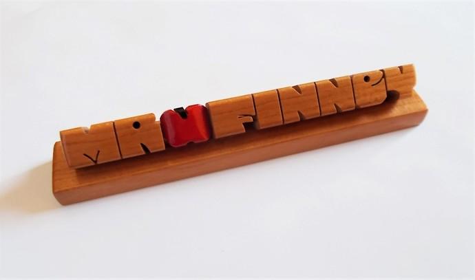 """Teacher's """"Apple"""" Desk Name in Cherry Wood, Custom Carved to Order"""