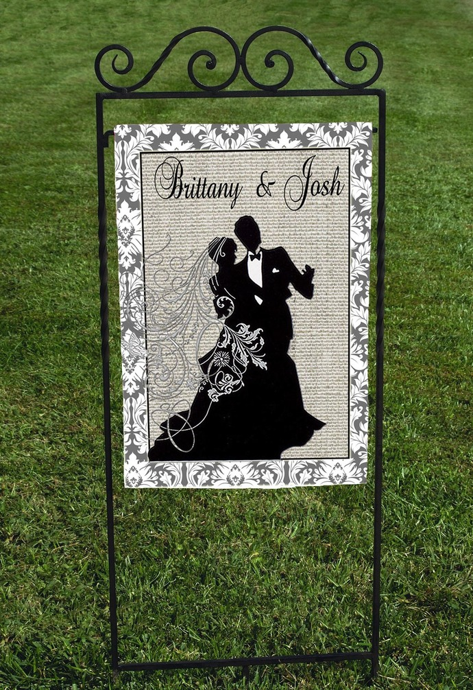 Garden Flag, Personalized Wedding Garden Flag, Faux Burlap Background,  Black Silhouette Bride And Groom, Personalized Flag, Wedding Flag