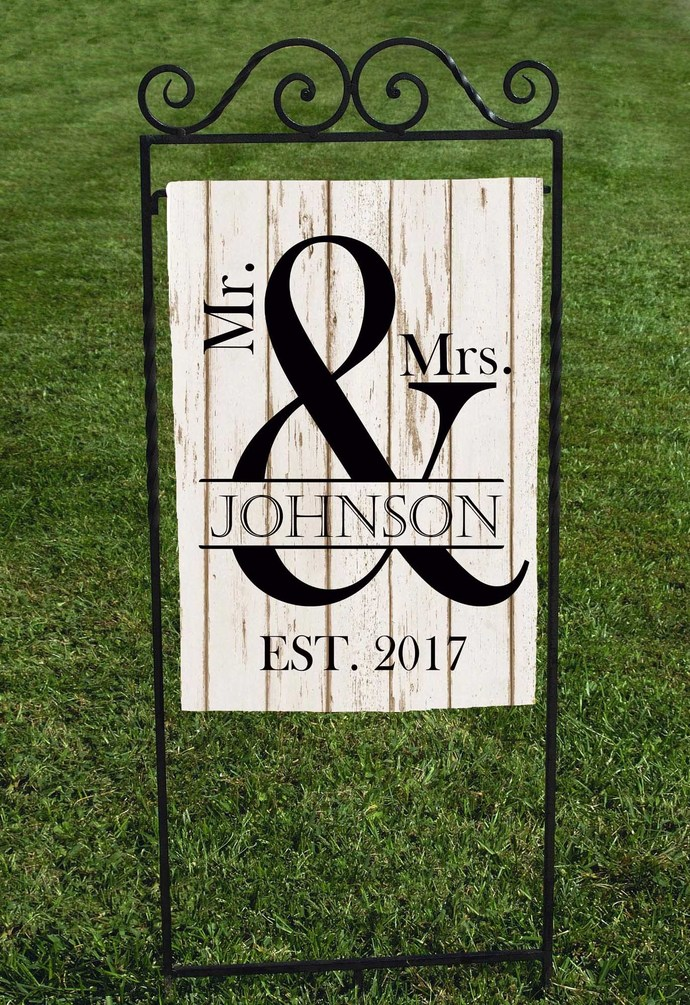 Charmant Garden Flag, Personalized Wedding Garden Flag, Mr And Mrs, Est. Year Faux  Wood Background, Black Lettering