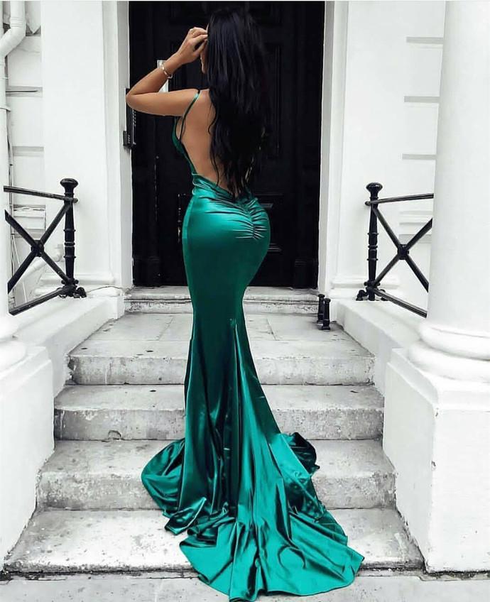 V Neck Prom Dresses with Slit