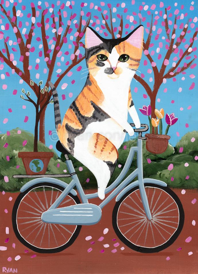 Earth Day Bicycle Cat Original Cat Folk Art Painting