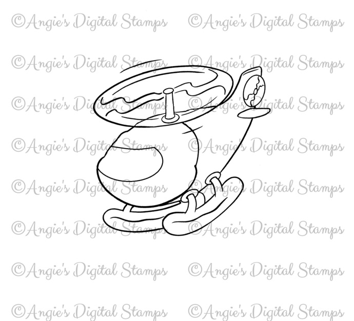 Helicopter Digital Stamp