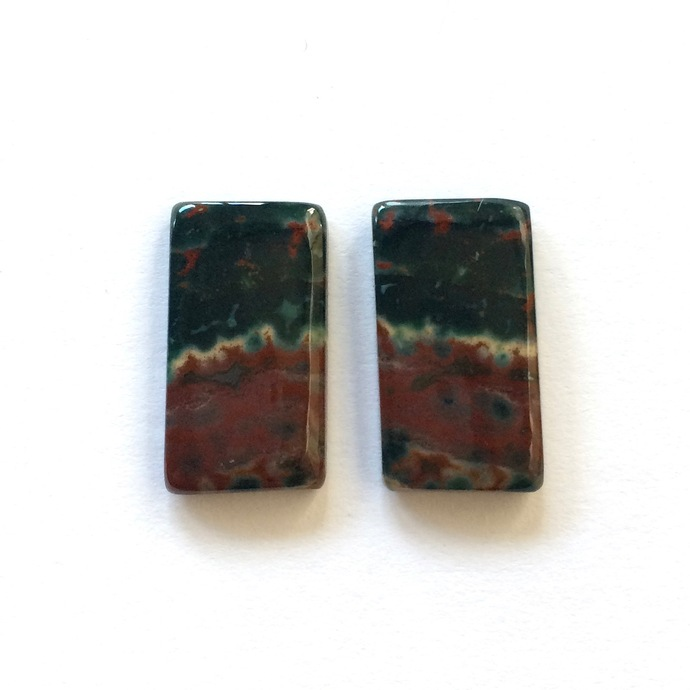 Bloodstone Gemstone Cabochon Rectangle 22x12mm FOR TWO