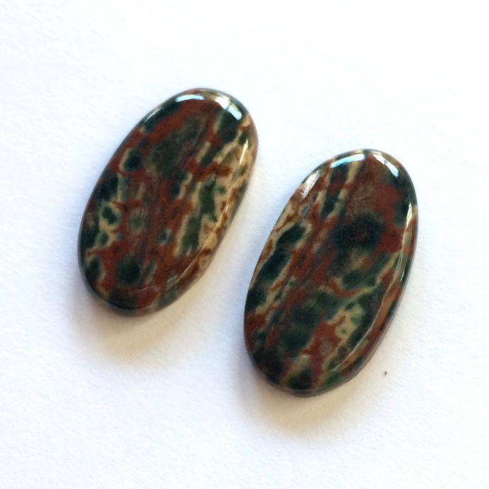 Bloodstone Gemstone Cabochon Oval 26x15mm FOR TWO