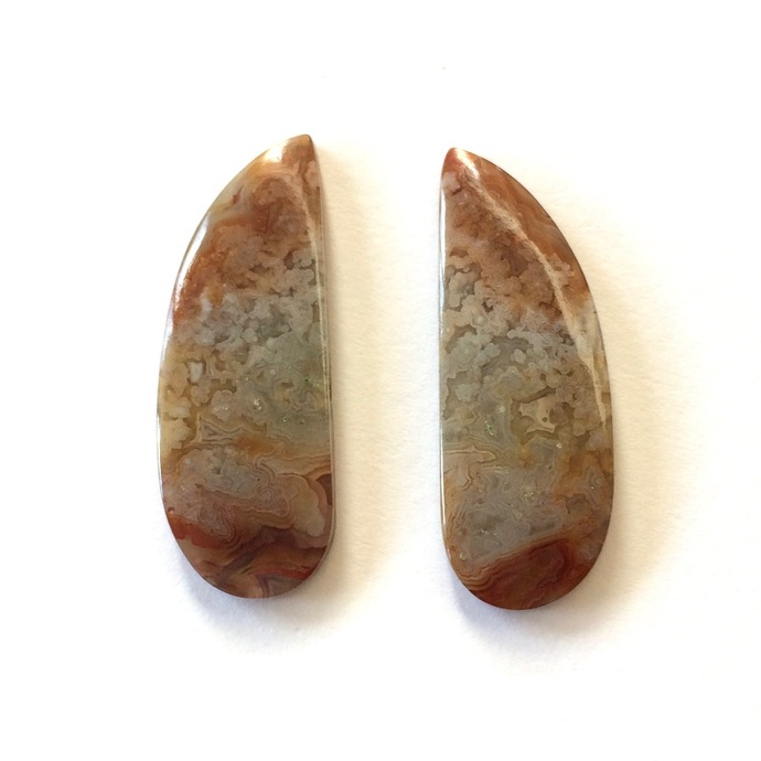 Crazy Lace Agate Gemstone Cabochon Oval 28x10mm FOR TWO