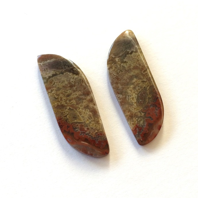 Crazy Lace Agate Gemstone Cabochon 33x10mm FOR TWO