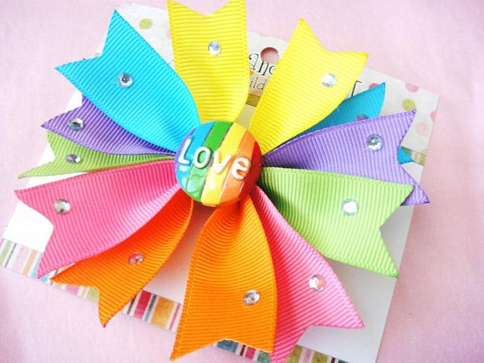 Rainbow Bright Colors Spike Boutique Girls Hairbow