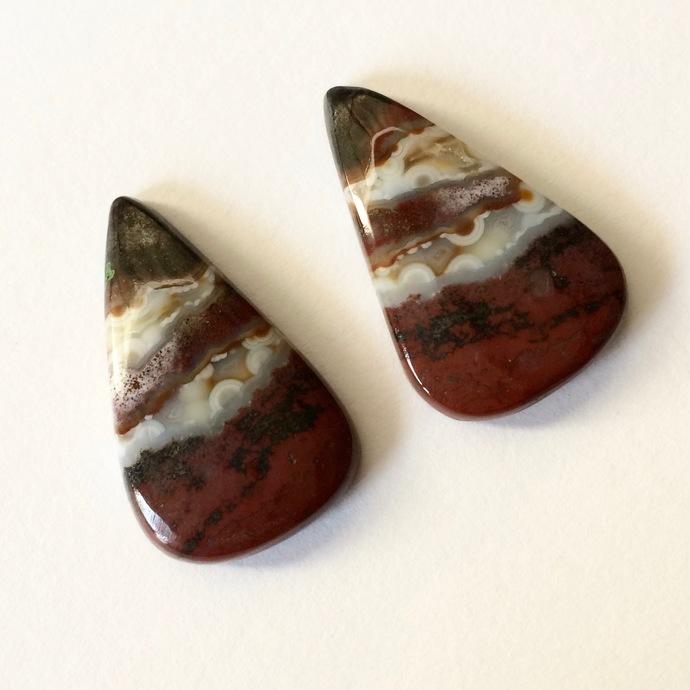 Bloodstone Gemstone Cabochon Pear 27x16mm FOR TWO