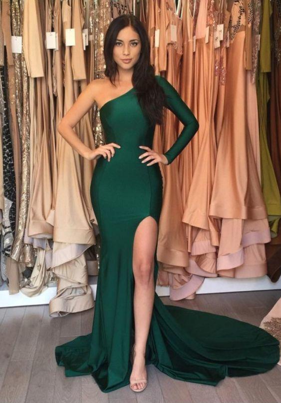 Sexy One Shoulder Mermaid Prom Dresses,Long Prom dresses
