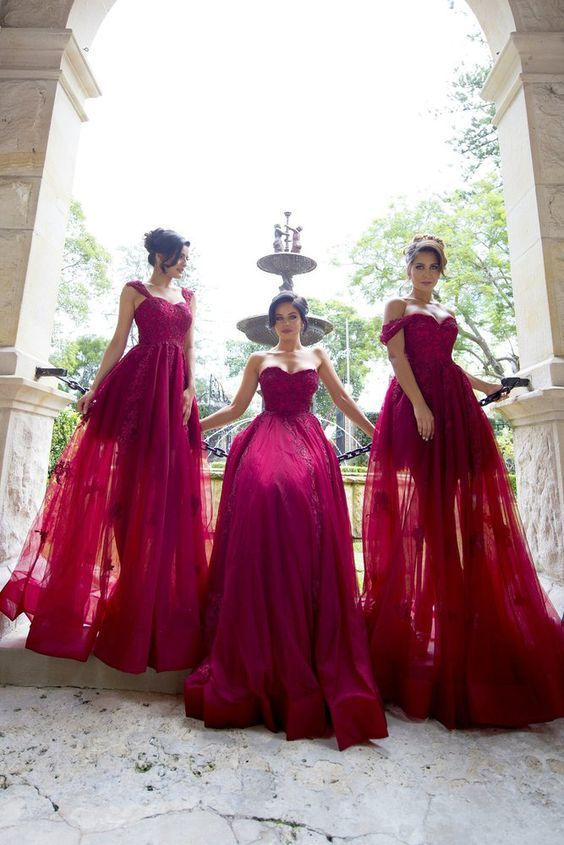 Princess Fuchsia Tulle Long Bridesmaid Dress,Long Bridesmaid Dress