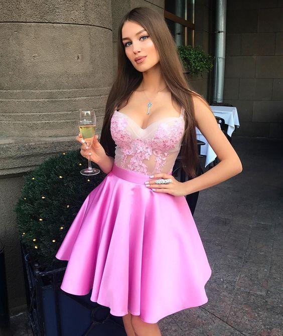 Pink Satin Appliques Prom Dresses Short Homecoming Dresses